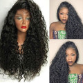 Japanese Heat Resistant Fiber Long Black Curly Synthetic Lace Front Wig Black Afro Kinky Curly Synthetic Lace Front Wig freepart