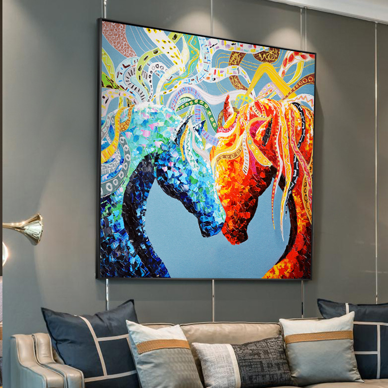 Abstract Couple Colourful Horse Paintings Canvas Print