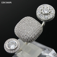 LYCOONแฟชั่นสองนิ้วแต่งงานแหวน