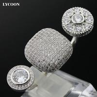 LYCOON moda dois dedos anéis de casamento de prata-banhado prong definir AAA Cubic Zirconia crystal clear tamanho do Anel ajustável