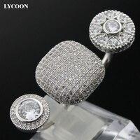 LYCOON mode twee vinger trouwringen verzilverd griffenzetting AAA Zirconia kristal Ring maat verstelbare