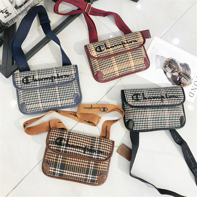 2019 New Autumn and Winter Wide Strap Shoulder Messenger Bags High Quality Embroidery Lattice Women Purse
