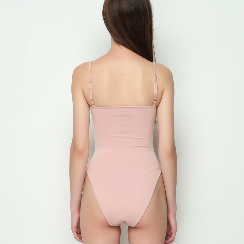 686d3b0c8928 Women Cotton Spandex Spaghetti Strap Basic Tube Bodysuit Adjustable Cami  Straps Bodysuit -in Bodysuits from Women s Clothing on Aliexpress.com