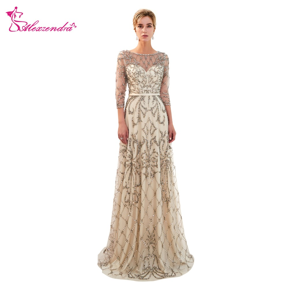 Alexzendra New Heavy Beaded Formal Dresses Elegant A Line Formal Evening Dress Party Dresses Sexy Evening Dresses