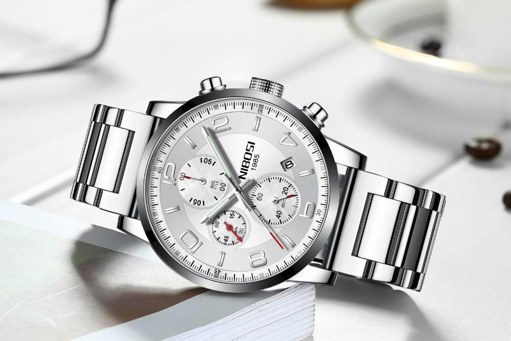 лучшая цена NIBOSI 2018 New Type Luxury Watch Quartz Wrist Watch Fashion Stainless Steel Watch for Man Relogio Masculino Exquisite Silver