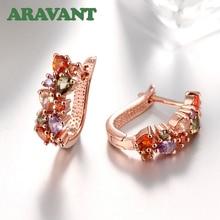 Colorful AAA CZ Cubic Zircon Hoop Earrings For Women Bridal Wedding Luxury Jewelry
