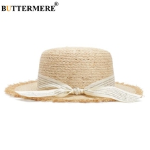 BUTTERMERE Straw Boater Sun Hat Women Natural Raffia Female Letter Ribbon 2019 Summer Ladies Designer Brand Beach