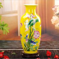 37cmJingdezhen ceramic vase modern Chinese home decoration craft gift beautiful lotus The colour vase wine cabinet decoration