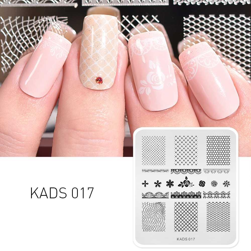 KADS แฟชั่น 017 ดอกไม้และลูกไม้ภาพเล็บปั๊มแผ่นเล็บออกแบบแม่แบบแสตมป์ลายฉลุเล็บสำหรับเล็บเครื่องมือ