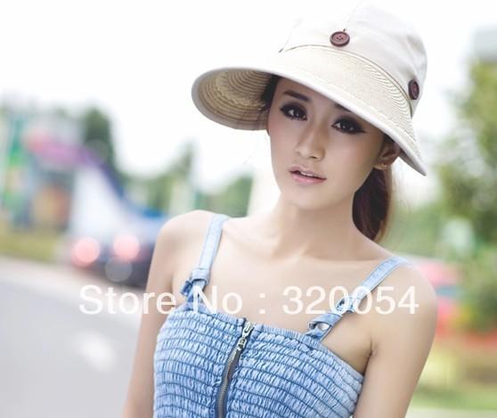 1 unids, 2013 summer protección Uv sombrero para el sol, un desmontaje sombrero vacío anfibio, paño de las mujeres sombrero de paja, multicolor, envío gratis
