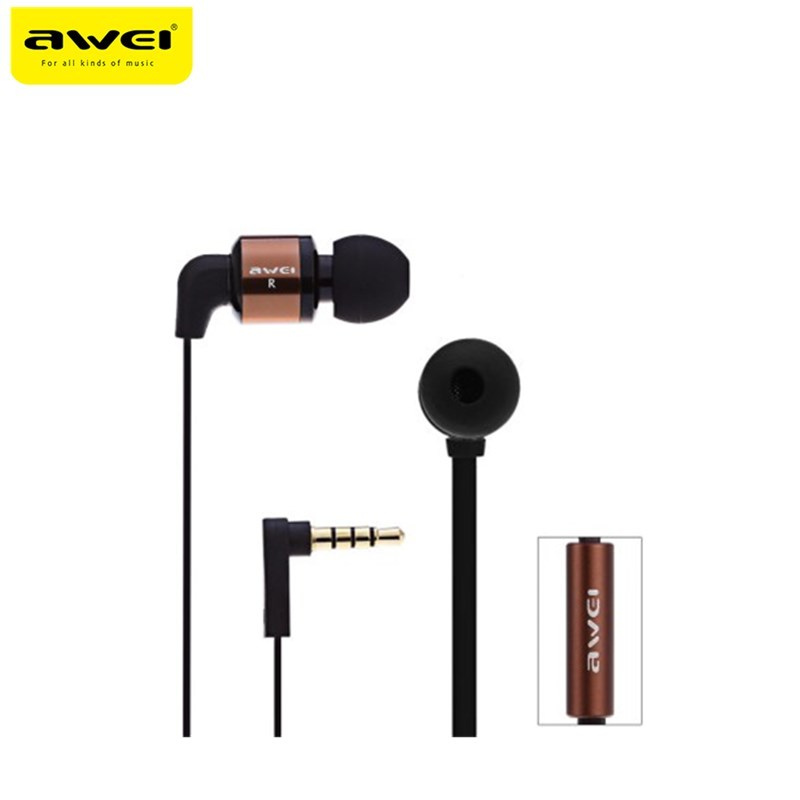 Awei ES600i Earphones Stereo Headset With Microphone Mic Headset In-ear Earphone For In Ear Phone awei q5i in ear earphones with mic gold