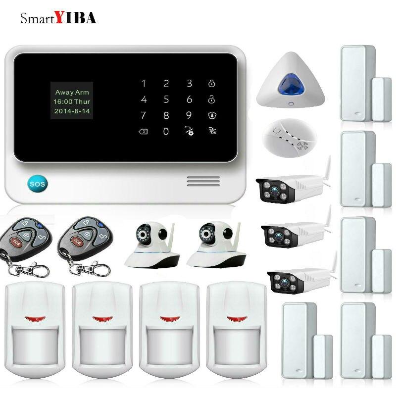 SmartYIBA APP contrôle sans fil capteurs d'alarme WIFI GSM système d'alarme de sécurité + caméra intérieure/extérieure + système d'alarme sirène bleue
