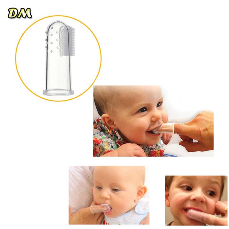 1 pc Useful healthy Kids Baby Infant Soft Silicone Finger Toothbrush Teeth Rubber Massager Brush Hot image
