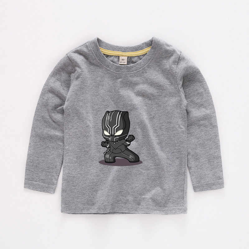 Детская футболка с длинным рукавом Черная пантера Забавная детская одежда с веселым рисунком летняя одежда с длинными рукавами для маленьких мальчиков и девочек 027