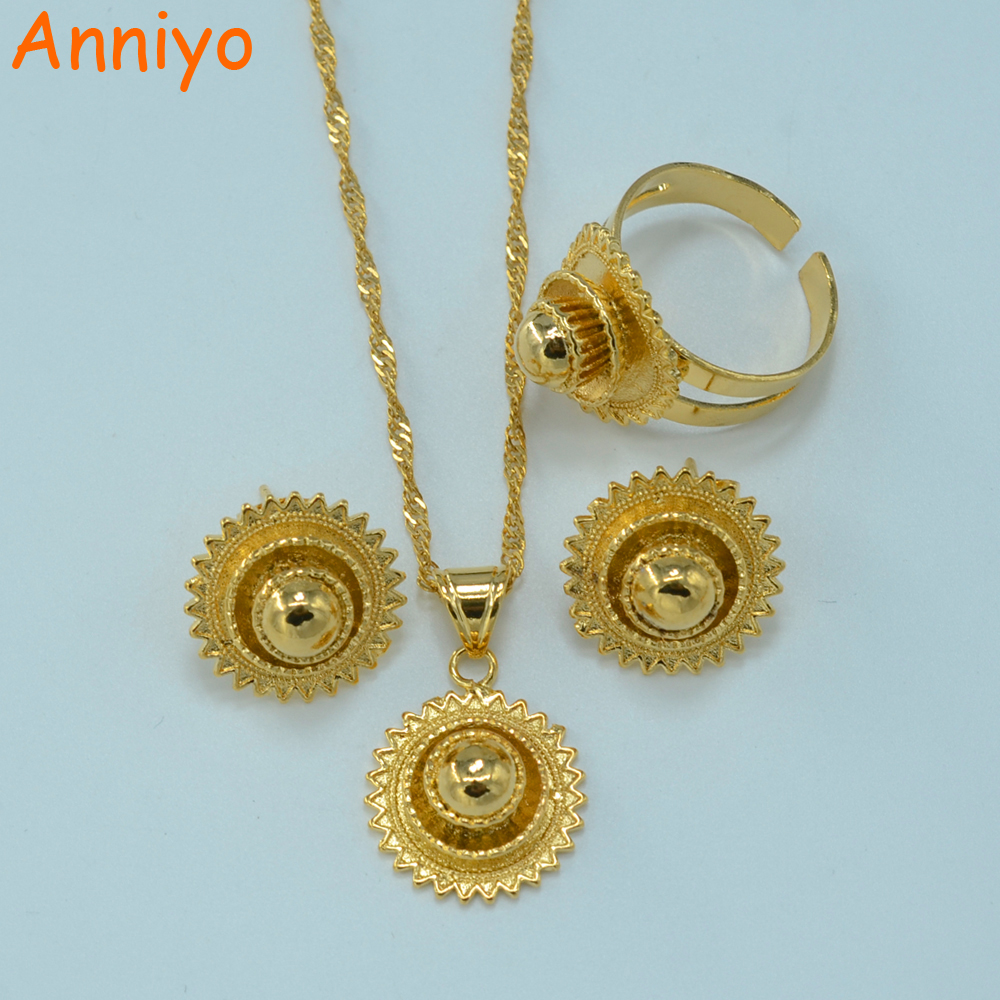 Anniyo Ethiopian Small set Jewelry NecklaceEarringsRing Gold Color