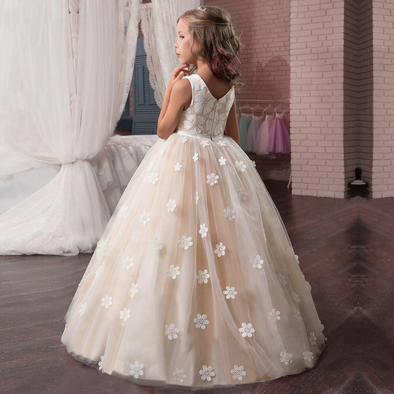 Fluffy   flower   lace evening   girl     dresses   first communion princess   dress   baby tutu costume children clothing ball gown for   girls