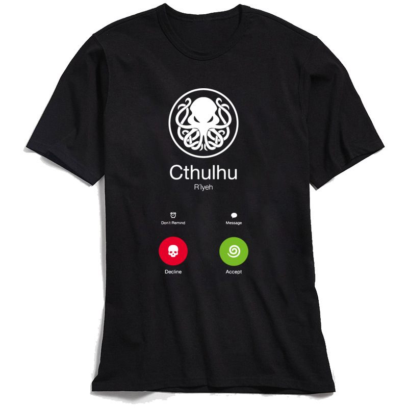 NormalCasual Short Sleeve Tops Shirt Summer/Fall Funny Crew Neck Cotton Fabric Sweatshirts Boy T Shirt THE-CALL-OF-CTHULHU  THE-CALL-OF-CTHULHU black