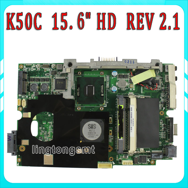 Original For ASUS K40C K50C Laptop Motherboard 15.6 HD REV 2.1 USB2.0 DDR2 VRAM SiS 672+968 Mainboard 100% fully Tested k75de motherboard qml70 la8371p rev 1a mainboard hd 7670 1g socket fs1 100% test