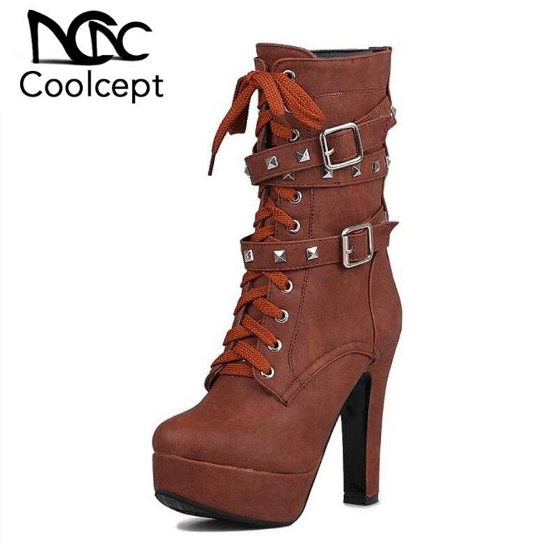 Coolcept Size 33 43 Women Mid Calf High Heel Boots Cross Strap Metal Platform Short Boots