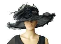 新ブラック × 大型ワイドつばオーガンザ帽子フォーマルドレス帽子 sinamay 魅惑的な教会の結婚式、つば幅 15.5 センチメートル。