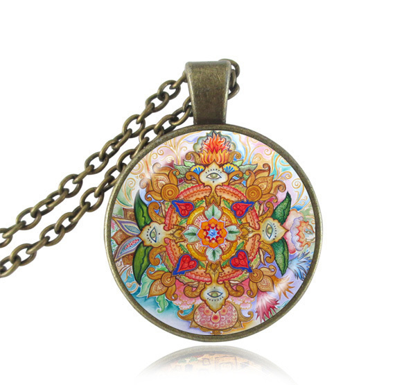 Mandala pendant necklace eye jewelry lotus flower necklaces yoga mandala pendant necklace eye jewelry lotus flower necklaces yoga pendant buddhist jewelry chakra hinduism accessories women gift in pendant necklaces from mightylinksfo