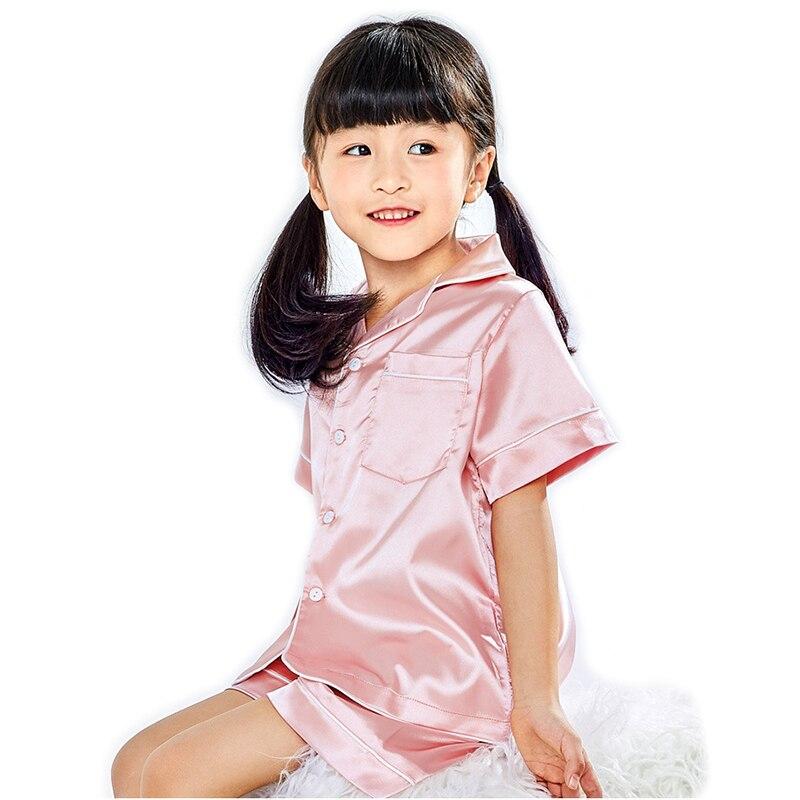 Children Silk Pajamas Summer Pajamas For Girls Kids Pyjamas Softy Boys Sleepwear Baby Clothing Kids Pajama Set 5
