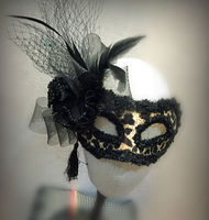 New Ladies Fancy Dress Party Golden Leopard Print Venetian Masquerade Mask Feather Lace Accessories
