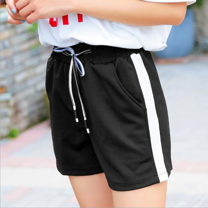 2018 women black loose Lace version of the thin striped workout   shorts   women summer thin section of wide leg leisure   short   pants
