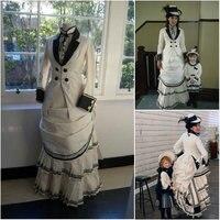 Исторические бежевый Винтаж костюмы викторианской Платья для женщин 1860 S Scarlett Гражданская война Southern Belle платье Хэллоуин Платья для женщин