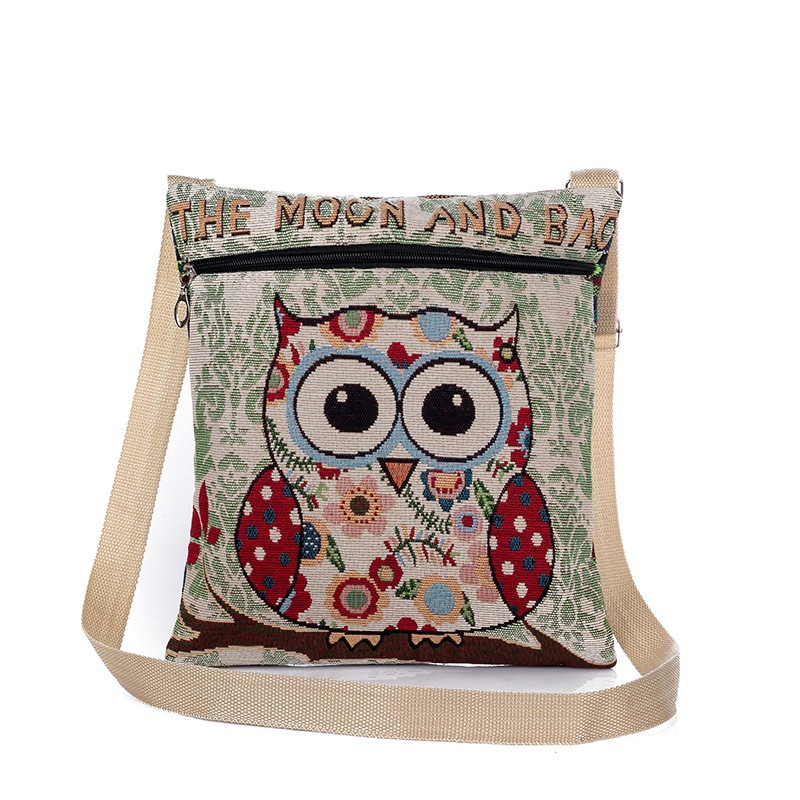 Cartoon Owl Printed Shoulder Bag Women Large Capacity Female Shopping Bag Canvas Handbag Summer Beach Bag Ladie