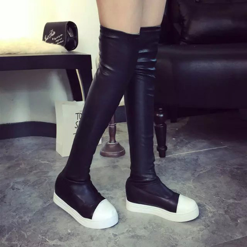 Manresar 2017 Autumn Winter Women Black High Top Boots Flat Leather PU Over Knee High Stretch