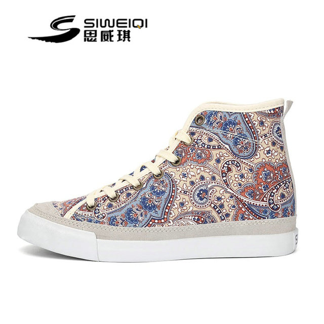 bf7fa7dd3e SIWEIQI Women Floral Printed Casual Shoes New Autumn Fashion Brand EUR Size  35-39 Height Increasing Lace-Up Canvas Shoe 5380
