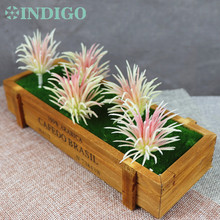 INDIGO (5 Plants+1Tray /set ) Bonsai Pink Flowers Artificial Succulent Plant Plastic Flower Table DecorationFree Shipping