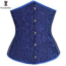b94245adf78 wholesale price dark blue color brocade waist shaper costume mini waist  cincher corset underbust Elastic Boned T string 28334