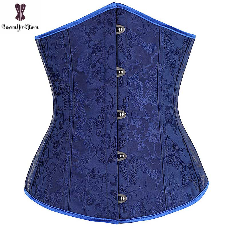 wholesale price dark blue color brocade waist shaper costume mini waist cincher   corset   underbust Elastic Boned T string 28334