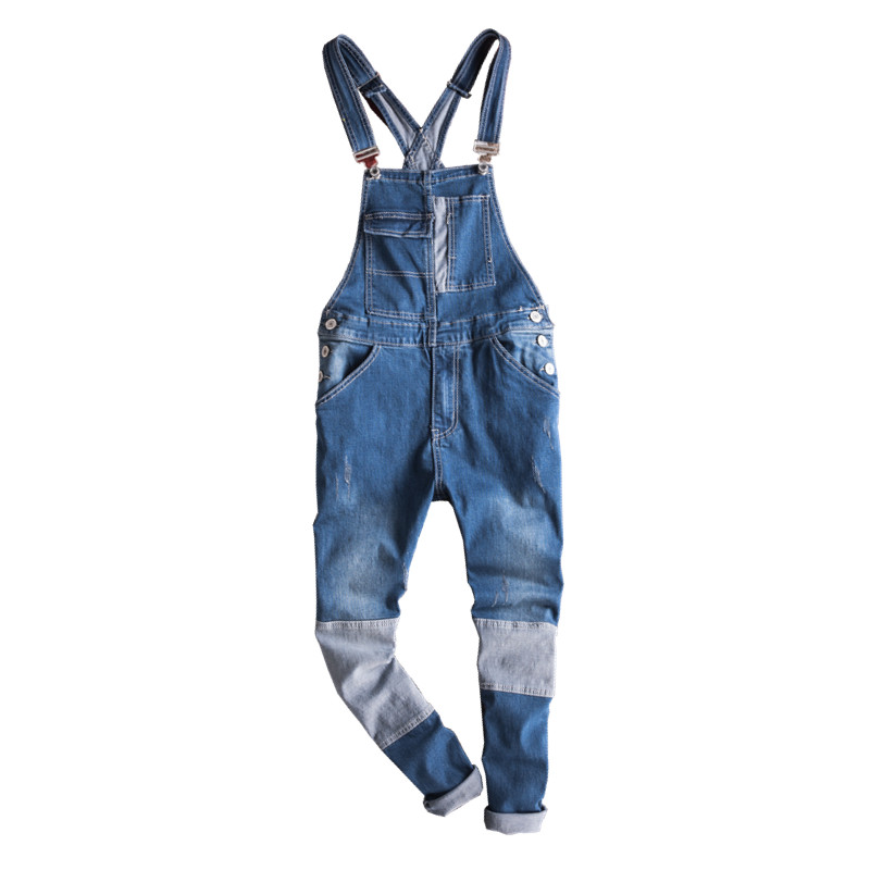 New Brand Summer Casual Blue Stitching Color Denim Jumpsuits Male Jeans Overalls Casual Suspenders Ankle Length men s brand bib jeans 2016 new casual front pockets light blue denim overalls boyfriend jumpsuits male suspenders jeans