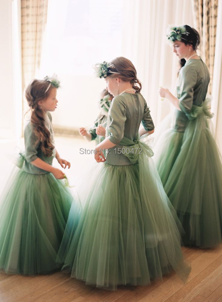 Beautiful A Line Tulle Skirt Half sleeves Floor long Green Flower ...
