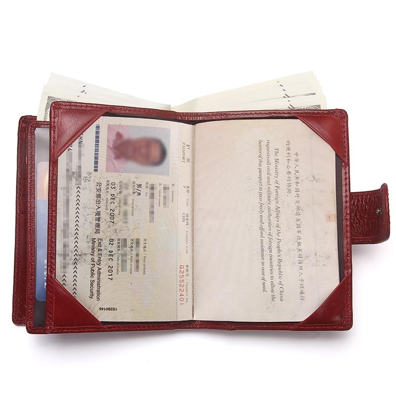 Image 5 - Contacts 本革の女性のパスポートホルダー女性財布トラベル男性 portomonee ショート walet カードホルダーパスポートカバー財布   -