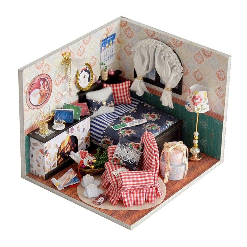 DIY Flower Bedroom Miniature Doll House Furniture Kits Toys Handmade Craft Model Kit DollHouse Gift For Kids Home Desk Decor
