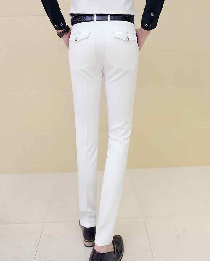 男性白ドレスパンツ男性スキニースリムフィット白人男性のズボンの男性クラシック Desinger ブランド赤黒 10 色