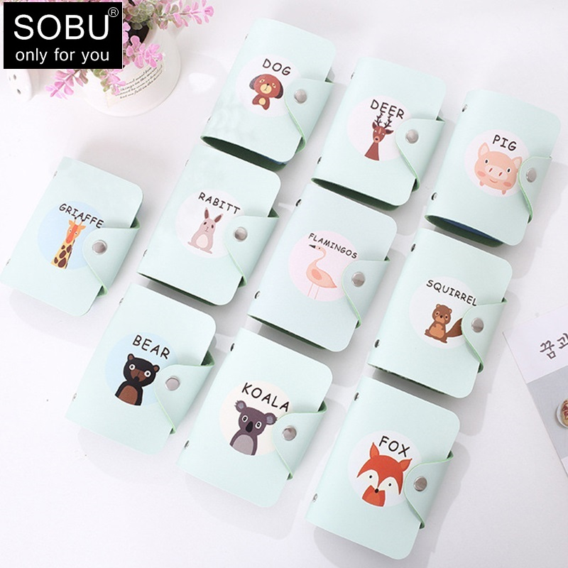 2019 New Cute Animal Printing Card Holder 24 Bits PU Leather Hasp Card Case Women Credit Card Bag ID Passport Card Wallet H116