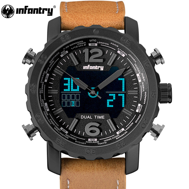 Top Luxury Brand INFANTRY 3D Dial Men Sport Watches Men's Quartz LED Analog Clock Man Military Wrist Watch relogio masculino sunward relogio masculino saat clock women men retro design leather band analog alloy quartz wrist watches horloge2017