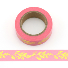 цены 1pcs 15mm Wide Vintage Gold leaves Gilding Rococo Decoration Washi Tape DIY Planner Diary Scrapbooking Masking Tape Escolar
