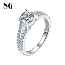 SG HOT 925 Sterling Silver White Double Finger Ring for Women with Clear Cubic Zircon Lady Wedding Party Jewelry Free Shipping цена 2017