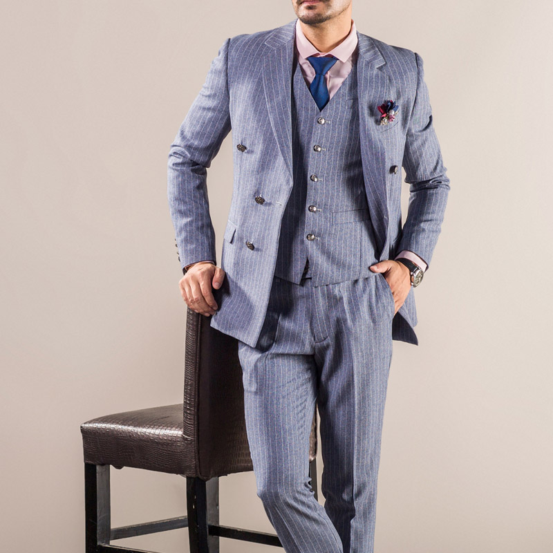 OSCN7 gris Double boutonnage pinrayé personnalisé hommes costume 2019 rétro laine Slim Fit 3 pièce sur mesure costume hommes décontracté hommes vêtements