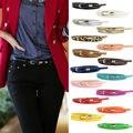 Moda de Nova Lady Womens Couro Narrow Fina Skinny Cintura Belt Buckle Cintura Cummerbunds Cintos Cintura