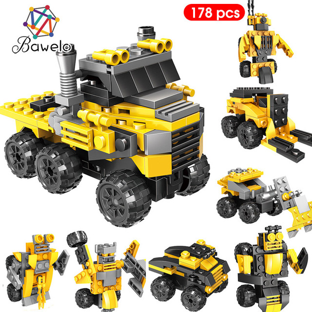 178pcs Engineering Vehicles Trucks Crane Building Blocks Model Compatible Legoed City Construction Toys Gifts For Kids