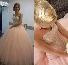 Pink Ball Gown Sweetheart Crystal Beaded Pearls Tulle Elegant Formal  Wedding Dresses 2019 New Wedding Gowns Custom Made DW203 0d2d96787b43