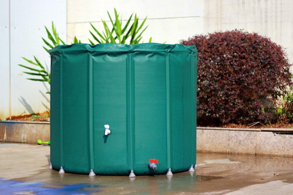 Seau pliable de collecte d'eau de pluie 500L (D800mm X H1000mm) seaux extérieurs pliants de réservoir d'eau PVC bout d'eau compressible