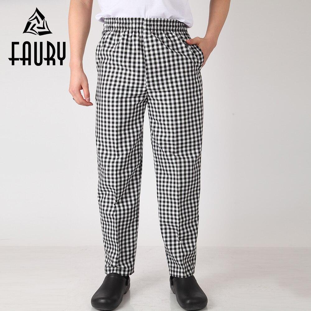 Men Plaid Elastic Waist Restaurant Catering Food Service Kitchen Work Wear Cooking Uniform Long Professional Business Suit Pants
